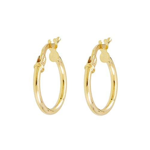 L'Atelier d'Azur - Pendientes de aro para mujer, oro amarillo auténtico