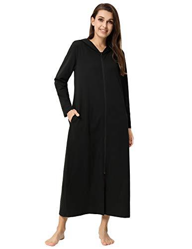 Zexxxy Bademantel Damen Lang Baumwolle Saunamantel Reissverschluss Lang Arm Einfarbig Loungewear Schwarz M -
