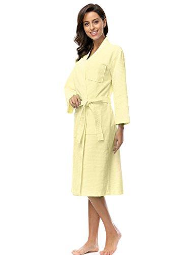 BELLOO Damen Bademantel Baumwolle Kimono Robe Nightwear Waffel ...