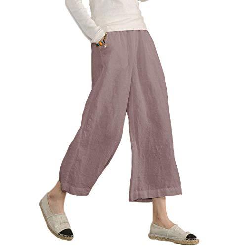 Ecupper Damen Leinenhose 7/8 Sommerhosen Leicht mit Elastischem Bund Casual Loose Fit Trousers Dunkel Rosa XL