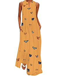 3e4478451b3cc Maxi Dress for Women Plus Size S-5XL Boho Ethnic Striped Butterfly Print  Sleeveless Baggy