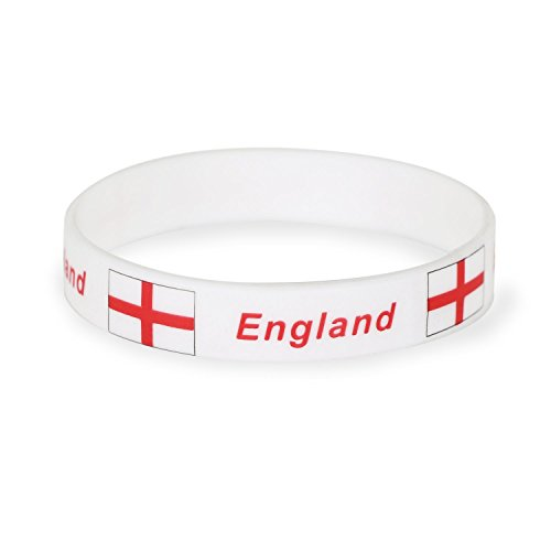 Trixes 1 x Stück Weisse England Silikon Armbänder Olympic Fahne Banner