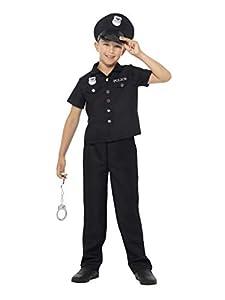 Smiffys-49650S Disfraz de polic¡a de Nueva York, con Camiseta, Pantalones y Sombrero, Color Negro, S-Edad 4-6 años (Smiffy