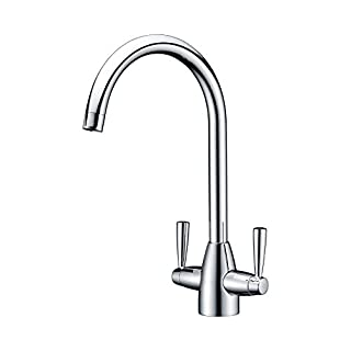 DELLE ROSA Chrome Swivel Spout Dual Lever Kitchen Sink Mixer Taps, 304 Stainless Steel with Solid Brass Construction