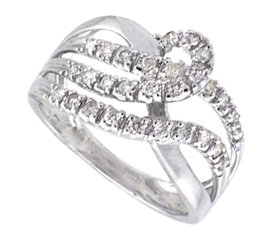 9ct white gold three rows of interlaced 0.35cts diamond ring