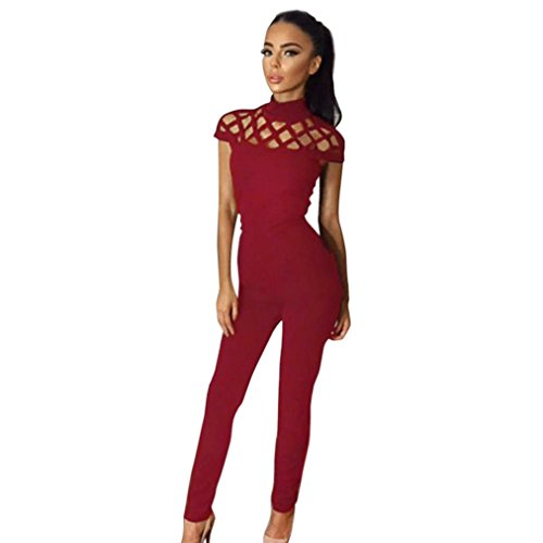Hffan Damen Choker High Neck Caged Sleeve Jumpsuit Bodysuit Overall Reizvolle Einfarbig Lange Overall Strampler Bodycon Clubwear Hose Romper Playsuit Jumpsuits (Rot, XL) (Insgesamt Denim Patch)