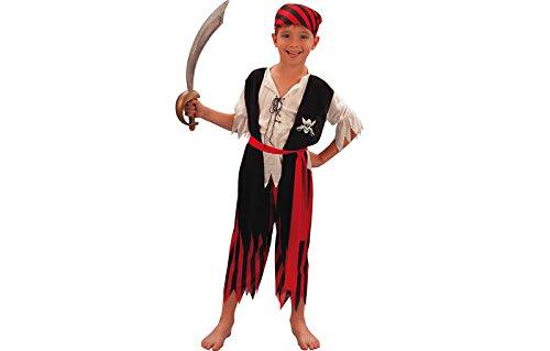 fyasa 701242-t02Pirate Boy Fancy Dress Kostüm, schwarz/weiß, Größe M (Pirate Boy Kostüm)