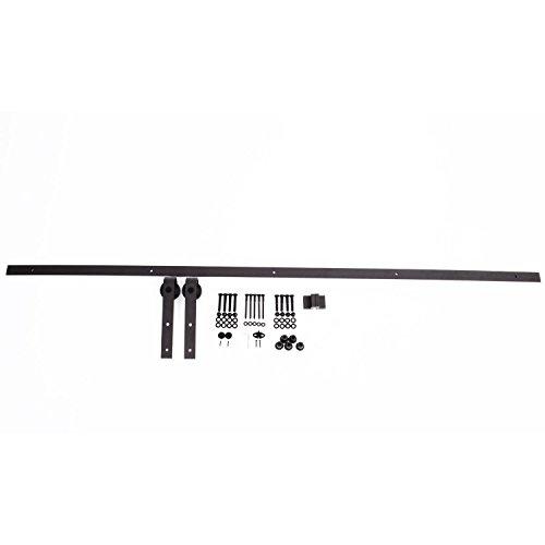 HomCom Kit de Instalación de Rieles para Puerta Corredera sin Obra - Color Marrón - Acero de Carbono - 200x4x0.8 cm