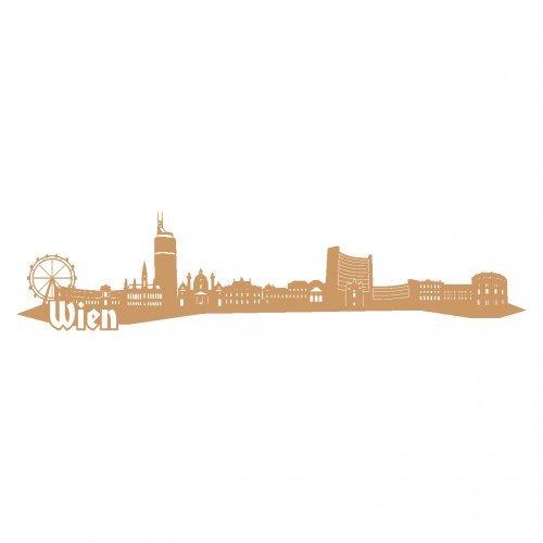 Wandtattoo Wien Skyline Wandaufkleber in 6 Größen und 19 Farben (230x52cm hellbraun)