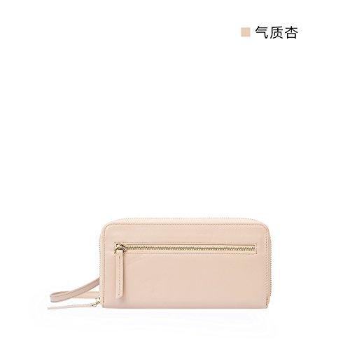 Nouveau portefeuille cuir porte-monnaie sac zip autour de simple carte de grande capacité-forfait Quality apricot