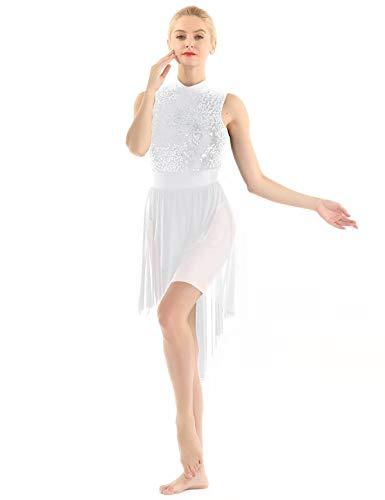 Weißen Rock Anzug (MSemis Glänzend Damen Ballettkleid mit Unregelmäßig Rock Latein Tanzkleid Ballett Trikot Tanzbody Leotards Trikot Anzug Weiß Small)