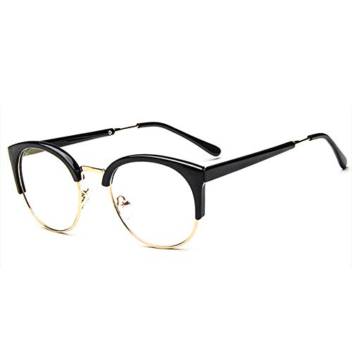 Gaodaweian Unisex Vintage Brille Horn Umrandeten Nerd Metall Brillen Optische Brille Half Frame Brille für Frau und Mann (Color : Schwarz)