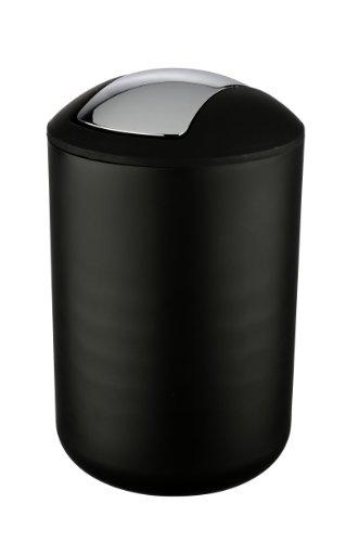 WENKO 21212100 Kosmetikeimer Brasil Schwarz L - absolut bruchsicher, Fassungsvermögen 6.5 L, Thermoplastischer Kunststoff (TPE), 19,5cm x 19,5cm x 31cm