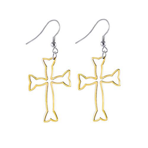 Yslin Stilvoll Edelstahl Ohrringe Zarte Kreuz Eardrop Mode Minimalist Baumeln GläNzend Ohrringe Modeschmuck