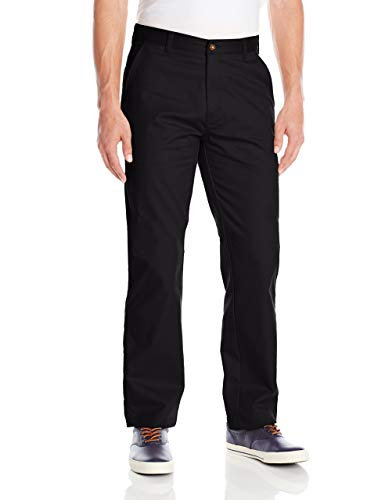 IZOD Uniform Young Men's Flat Front Straight Fit Pant,Black,33x30 (Izod-uniformen)