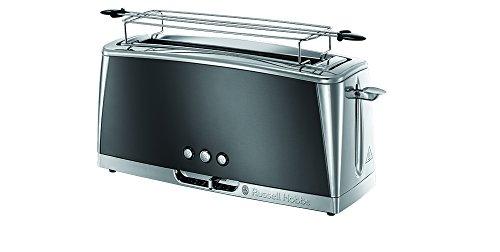 Russell Hobbs 23251-56 Langschlitz-Toaster Luna Moonlight Grey, Schnell-Toast-Technologie, Brötchenaufsatz, 1420 Watt, grau