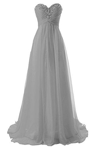 Abendkleider Ballkleider Lang Chiffon Brautjungfernkleid A Linie Damen Festkleid Silber EUR42