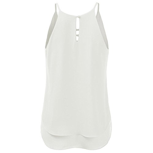 Strand Kreuz Weste Top ärmellose Bluse Casual Tank Lose T-Shirt(EU 42/M, Weiß) (Hund Kostüm Strand)