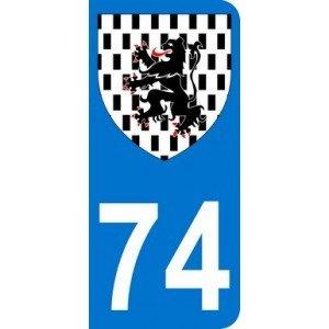 Autocollant 74 avec blason du Chablais plaque immatriculation Moto (6,3 x 2,9 cm)