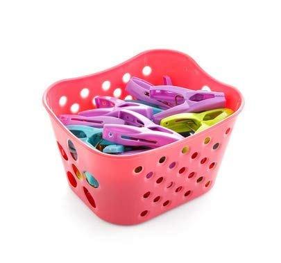 TBOP Home Clips with Storage Basket Clothes Drying Strong Windproof Underwear Socks clothespins Size 13.3 * 11 * 8cm in Pink Color