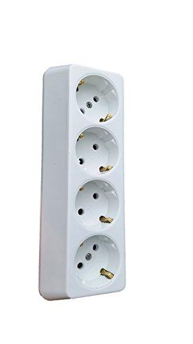 NEU 4-fach Aufputz Steckdose Hergestellt im EU Mehrachstecker Steckdosenleiste 4 Steckdosen Aufputz Koppler Ohne Kabel (4-Fach, Weiß)