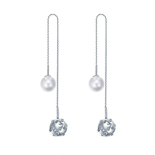 Lieberpaar Damen Retro 925 Sterling Silber Platin Diamant Weiß Perle Hohle silberne Kugel Anhänger Durchzieher Als Geschenk (Schuhe Damen Platin)
