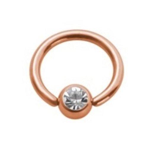eeddoo Piercing-Ring Klemmring Kristall Rosegold Edelstahl Stärke: 1,2 mm Durchmesser 8 mm Ball 4 mm LH - Pfirsich