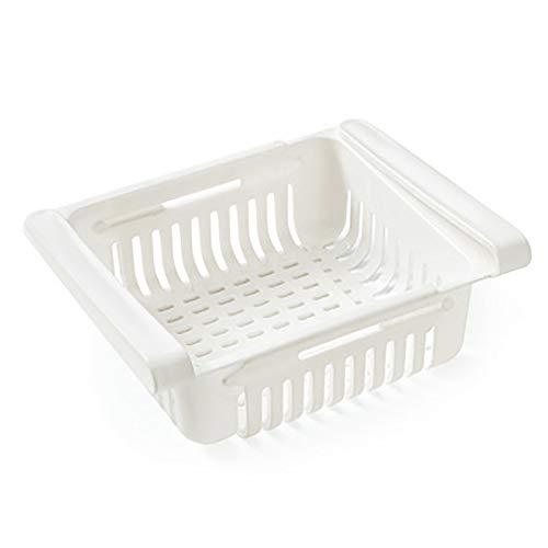 Maruis Aufbewahrungskorb aus Kunststoff mit einziehbarer Schublade, Aufbewahrungsbox, Kühlschrank, Sortierung, für Ordnung im Kühlschrank, weiß, as picture shows