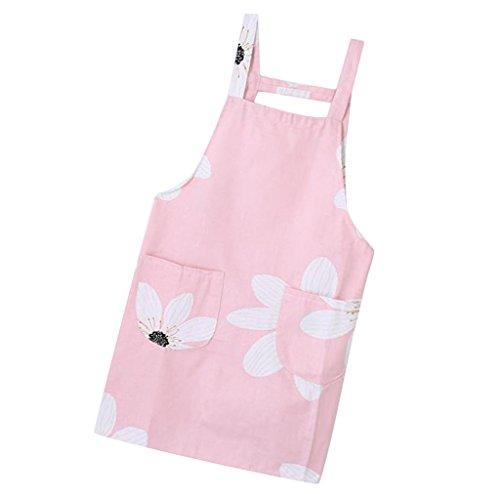 petsola Schürzen Mit Zwei Taschen, Die Backen Küchen Kittel Für Erwachsene Und Chef Kochen - Pinke Blume -