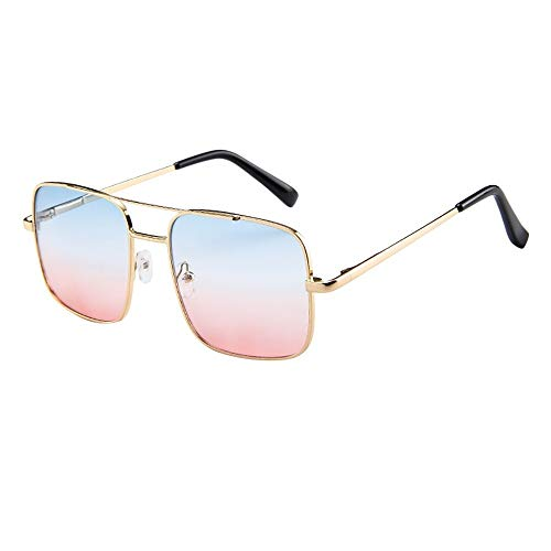 Dtuta Brillenfassungen Damen Retro Double Beam Big Box Square Elegante Retro-Metallrahmen Sonnenbrille Sonnenbrille Brille Eye Shading Sonnencreme Abnehmen Wild