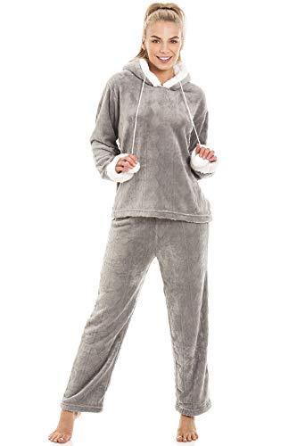 4175a3c6972511 Camille Damen Schlafanzug aus weichem Fleece mit Kapuze - Grau - Größen  38-48
