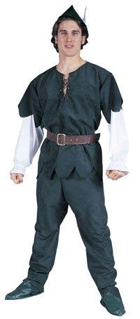 Hood Diebes-Kostüm Gr. 52/54 Bogenschützen-Verkleidung Rächer König der Armen Erwachsenen Grün Feder Waldläufer Fasching Karneval (Larp Kostüm Dieb)