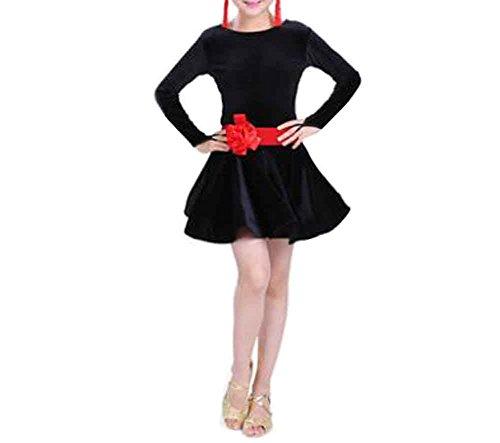 Black Temptation Dance Kleider Mädchen Latin Kostüm Leistung Kleid 120cm [A]