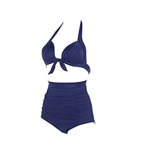Damen Badeanzüge, Macochoi klassische Badeanzüge Bikini Hohe Taille Badeanzug FBA Navy