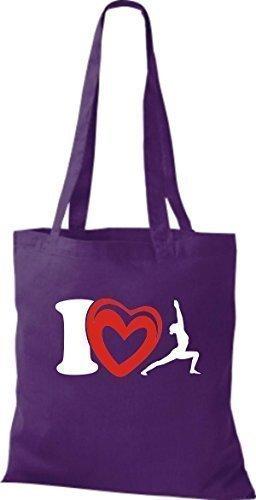 ShirtInStyle Stoffbeutel Baumwolltasche I Love Yogo Joga Sport Gymnastik Farbe Pink lila