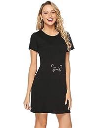 Abollria Camisón Mujer Verano de Algodón Manga Corta Camisónes Vestido Cuello en Redondo Loungewear ...