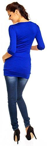 Zeta Ville - Damen Umstands-Mode -Tunika-Kleid für Schwangere Gr. 38-46 - 993c Königsblau