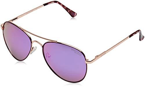 Skechers Unisex-Erwachsene SE6010 Sonnenbrille, Pink (Shiny Rose Gold/Smoke Polarized), 56
