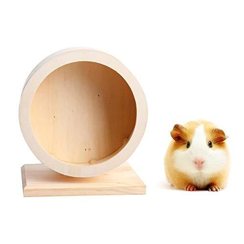Volwco Laufräder Für Kleintiere Prämie Silent Spinner Hamster Übungs-Spielzeug Rutschfest Holzrad Spielzeug Für Kleine Haustiere Mäuse Hamster Gerbil Rats Etc(M)