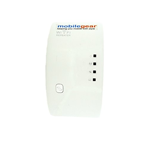 Mobile Gear Mini Wireless N WiFi Router, Repeater, Range Extender & Signal Booster with 300Mbps Speed & Wall Plug