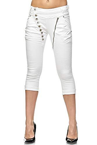 Elara Damen 3/4 Jeans | Kurze Capri Hose | Slim Fit | High Waist | Chunkyrayan C9362K-1 White-40 - Sexy Stretch Kurze