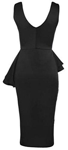 trendy-clothings robe mini robe Bodycon péplum robe Longueur Genou Mesdames Frivolité Plus Taille 8–22 Noir