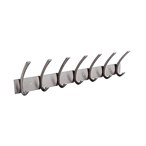 KES Coat Hook Rack/Rail with 7 Pronged Hooks Wall Mount Solid Metal, Brushed Nickel, A3062H7-2