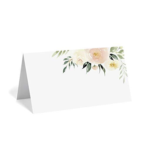 Floral Tischkarten für Hochzeit oder Party, Tischkarten für Tische, 50 Stück, gepunktet zum einfachen Falten, Blush Flower Design 5,1 x 8,9 cm - von Bliss Paper Boutique
