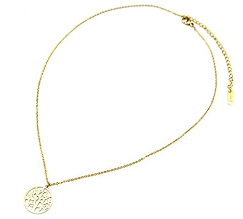 cc1350F Halskette feine Kette und Anhänger Kreis Durchbrochenes Baum des Lebens Stahl Gold–Modus Fantasie
