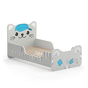VitaliSpa Kinderbett IZZY 80×160 cm Weiß Juniorbett Jugendbett Katze Mädchenbett (Weiß)