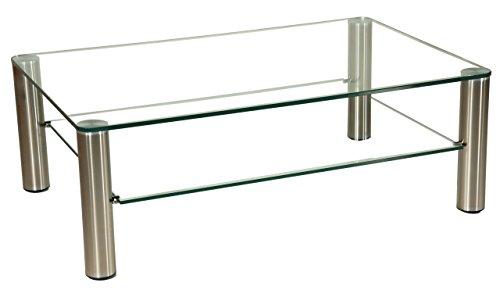 tischdesign24 Couchtisch mit Einer 12mm starken Glasplatte. Stollen in 80mm rund Chrom gebürstet mit Rollen. Klarglas Größe: 110 x 70 cm Rechteckig -
