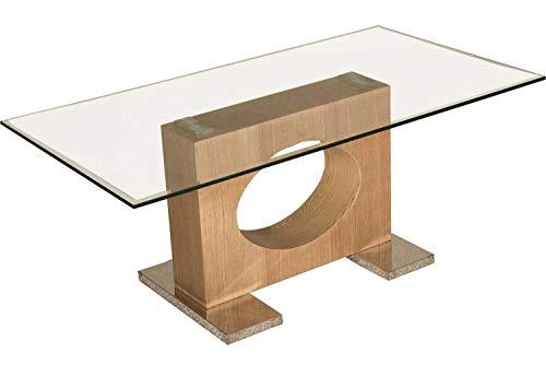 Couchtische Atlanta (Stegert-Design Atlanta Moderner Couchtisch. Lochsäule in Eiche Echtholz furniert. Tischplatte mit dekorativem Fassettenprofil. Sockelplatten in Edelstahl. Klarglas Größe: 110 x 60 cm Rechteckig)