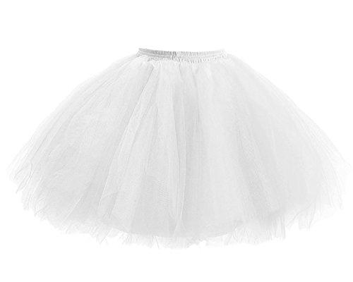 Facent Mädchen Kinder Kurz Tutu Rock Tüllrock Tütü Crinoline Minirock Reifrock Unterrock Kleid Tüll Weiß