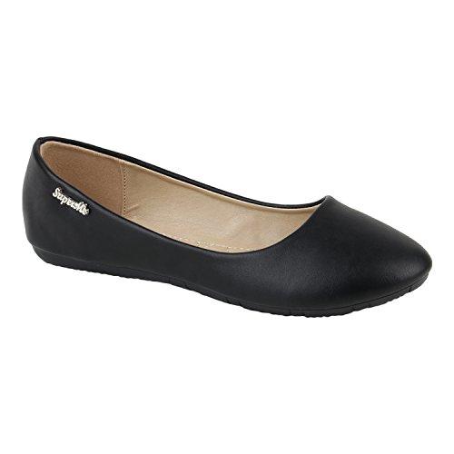 Klassische Damen Strass Ballerinas Elegante Slipper Übergrößen Metallic Glitzer Flats Schuhe 116545 Schwarz 37 Flandell wPHsV
